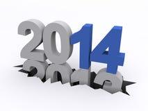 Nieuwjaar 2014 tegenover 2013 Stock Fotografie