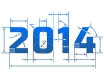 Nieuwjaar 2014 aantal met afmetingslijnen Stock Foto's