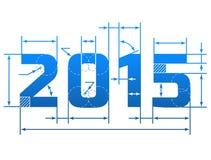 Nieuwjaar 2015 aantal met afmetingslijnen Royalty-vrije Stock Foto's