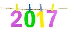Nieuwjaar 2017 aantal op witte achtergrond Stock Fotografie
