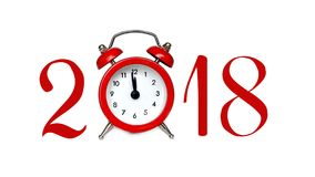 Nieuwjaar 2018, aantallen en wekker op wit worden geïsoleerd dat Royalty-vrije Stock Afbeeldingen