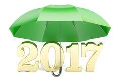 2017 nieuwjaar abstract concept met paraplu, het 3D teruggeven Stock Foto