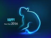 Nieuwjaar 2016 achtergrond Jaar van aap, het gloeien Stock Afbeeldingen