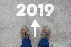Nieuwjaar 2019 als richting Stock Foto