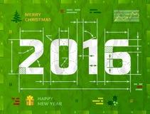 Nieuwjaar 2016 als technische blauwdruktekening stock illustratie