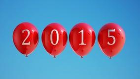 Nieuwjaar 2015 Ballons met het Knippen van Weg Stock Afbeelding