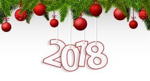 Nieuwjaar 2018 banner met rode Kerstmisballen vector illustratie