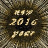 Nieuwjaar 2016 beeld in centrum van donker goud Stock Afbeelding