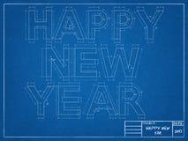 Nieuwjaar - Blauwdruk vector illustratie