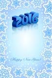 Nieuwjaar 2016 blauwe achtergrond Stock Foto's