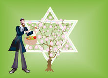 Nieuwjaar bomen, Seder die bi-Shvat. Stock Illustratie