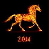 Nieuwjaar 2014: brandpaard. Stock Foto's