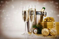 Nieuwjaar Champagne Royalty-vrije Stock Foto