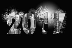 Nieuwjaar 2017 cityscape met vuurwerk Royalty-vrije Stock Afbeelding
