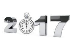 Nieuwjaar 2017 concept het staalteken van 2017 met chronometer 3d geef terug Royalty-vrije Stock Foto