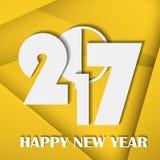 Nieuwjaar 2017 concept op gele abstracte linecardachtergrond Royalty-vrije Stock Foto's