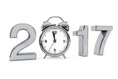 Nieuwjaar 2017 concept 2017 Staalteken met Wekker 3d trek uit Stock Foto