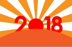 Nieuwjaar 2018 concept - zonsopgang met cijfers Royalty-vrije Stock Foto's