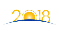 Nieuwjaar 2018 concept - zonsopgang met cijfers Stock Afbeelding