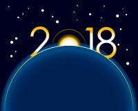 Nieuwjaar 2018 concept - zonsopgang met cijfers Royalty-vrije Stock Foto