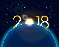 Nieuwjaar 2018 concept - zonsopgang met cijfers en lensgloed Royalty-vrije Stock Afbeelding