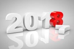 Nieuwjaar 2018 3d Teken het 3d teruggeven Stock Foto