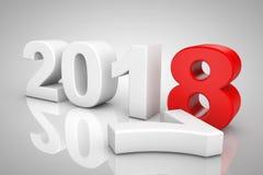 Nieuwjaar 2018 3d Teken het 3d teruggeven Royalty-vrije Stock Fotografie