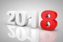 Nieuwjaar 2018 3d Teken het 3d teruggeven Royalty-vrije Stock Foto's