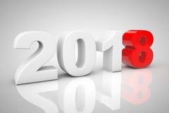 Nieuwjaar 2018 3d Teken het 3d teruggeven Stock Afbeelding