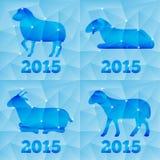 Nieuwjaar de Geit of Schapen 2015, veelhoekige geometrisch Royalty-vrije Stock Afbeeldingen