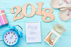 Nieuwjaar 2018 decoratie op hout Royalty-vrije Stock Afbeelding