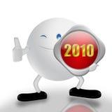 Nieuwjaar en 3d karakter vector illustratie