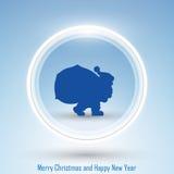 Nieuwjaar 2014 en de Vrolijke Kerstman van de Kerstmisprentbriefkaar Stock Foto's