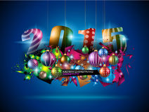 2015 nieuwjaar en Gelukkige Kerstmisachtergrond Stock Afbeelding