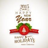Nieuwjaar en het Vrolijke ontwerp van de de groetkaart van Kerstmisvieringen Stock Afbeelding