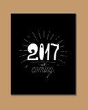 2017 - Nieuwjaar en Kerstmisdecoratieelement Royalty-vrije Stock Afbeeldingen