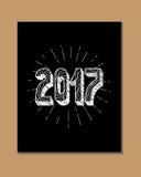 2017 - Nieuwjaar en Kerstmisdecoratieelement Royalty-vrije Stock Fotografie