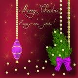 Nieuwjaar en Kerstmisgroet Royalty-vrije Stock Foto