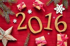 2016 nieuwjaar en Kerstmisontwerp Stock Fotografie
