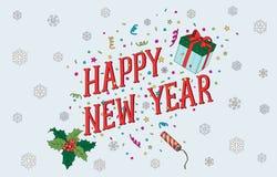 Nieuwjaar en Kerstmisprentbriefkaar 2017 Royalty-vrije Stock Afbeelding