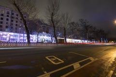 Nieuwjaar en Kerstmisverlichtingsdecoratie van de stad -- De lichte tunnel op Tverskoy-Boulevard, Rusland Royalty-vrije Stock Afbeeldingen