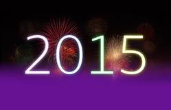 Nieuwjaar 2015 en Vuurwerk met Exemplaarruimte Stock Fotografie