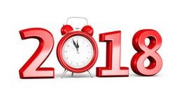 Nieuwjaar 2018 en wekker vector illustratie
