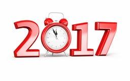 Nieuwjaar 2017 en wekker stock illustratie