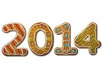 Nieuwjaar 2014 in geïsoleerde vorm van peperkoek  Stock Fotografie