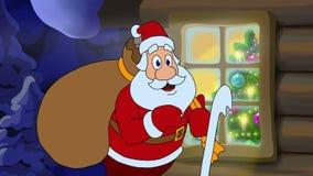 Nieuwjaar geanimeerde kaart met beeldverhaalkarakter Santa Claus stock illustratie