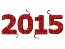 Nieuwjaar 2015 gebreide die stof op witte achtergrond wordt geïsoleerd Royalty-vrije Stock Foto's