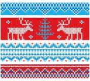 Nieuwjaar gebreide grenzen met traditionele ornamenten Stock Afbeeldingen