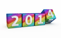 Nieuwjaar 2014 gekleurde kubussen Stock Foto's