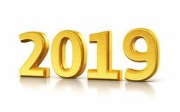 Nieuwjaar 2019 gele geeft 3d terug stock illustratie
